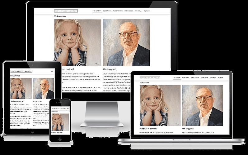 Portrætmaler Lis Kjærgaard hjemmeside designet i WordPress