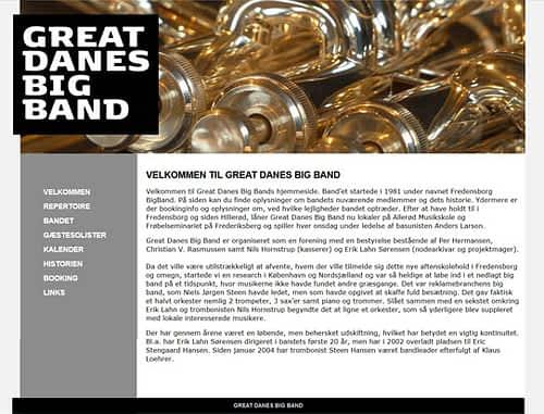 Hjemmeside til Great Danes Big Band WorPress hjemmeside
