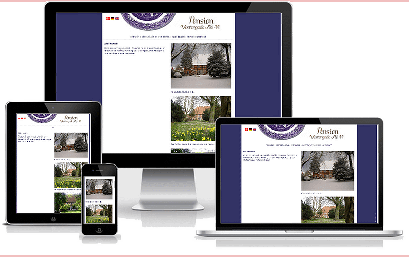 hjemmeside designet til pension Vestergde 44 - Ærø