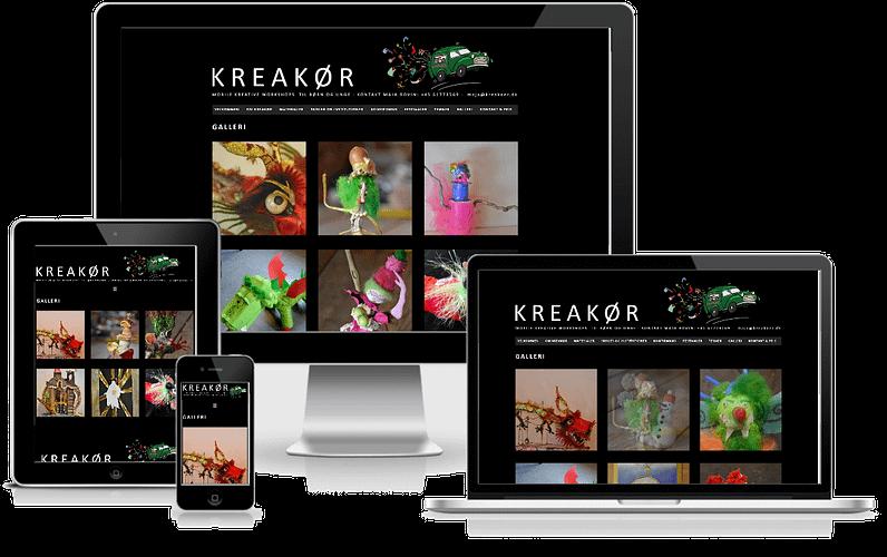 Kreativ formidler Kreakør hjemmeside designet i WordPress