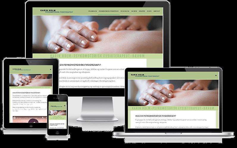 Hjemmeside designet til psykomotorisk fysioterapeut Karin Holm