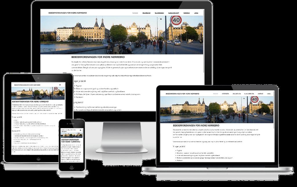 hjemmeside design til beboerforeningen for indre Nørrebro
