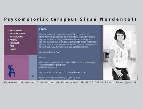 Hjemmeside designet i WordPress til psykomotorisk terapeut