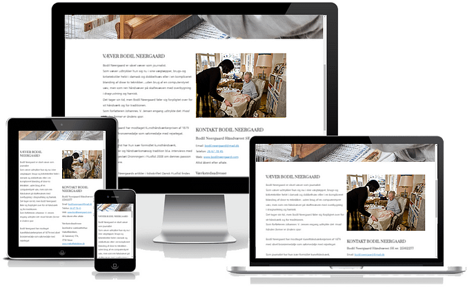 Hjemmeside til væver og kunsthåndværker