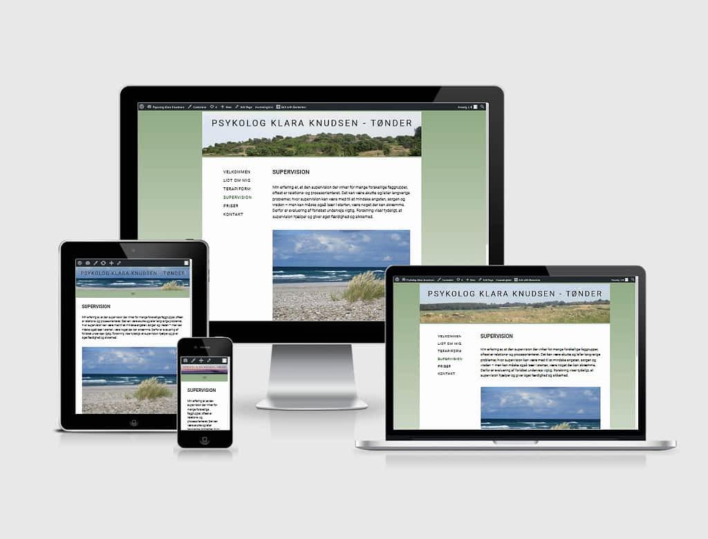Hjemmeside designet til psykolog Klara Knudsen